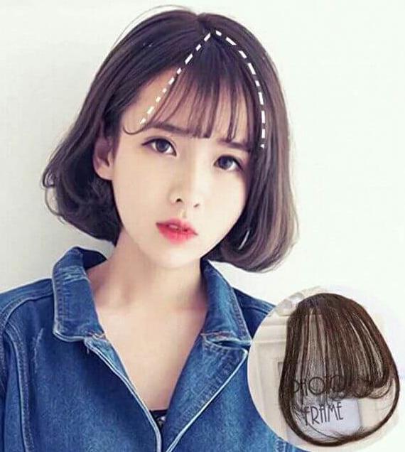 ( tóc mái giả thưa và thẳng phù hợp với nhiều khuôn mặt và kiểu tóc)
