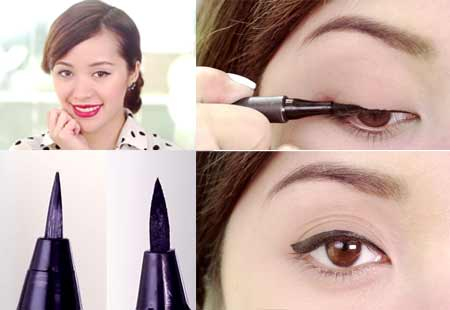 Vẽ Eyeliner Bằng Bút Nước Với Đuôi Mắt