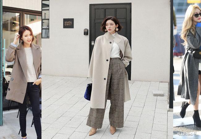 Áo thun + quần skinny + áo dạ dài