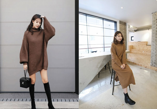 Đầm len dài+ Boots cổ thấp