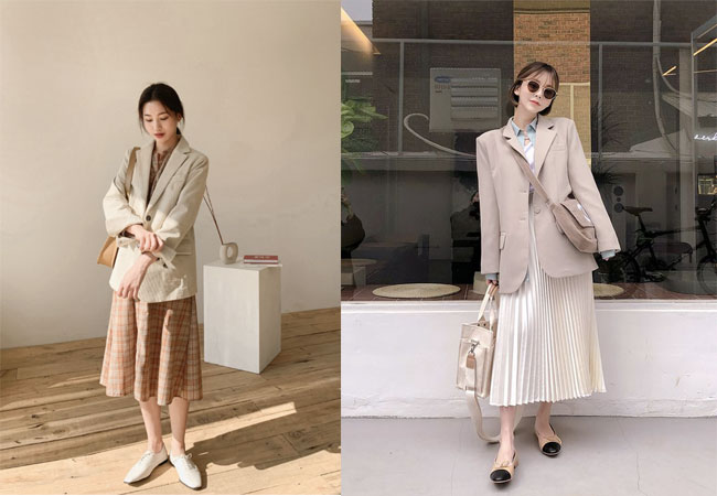 Váy liền+ áo blazer+ giày búp bê