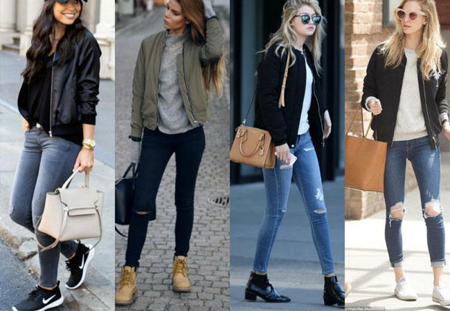 Áo thun, áo sơ mi+ quần jean bó + áo khoác kaki