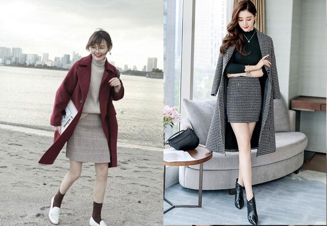 Áo khoác dạ mỏng+ áo len cổ lọ+ chân váy ngắn+ boots