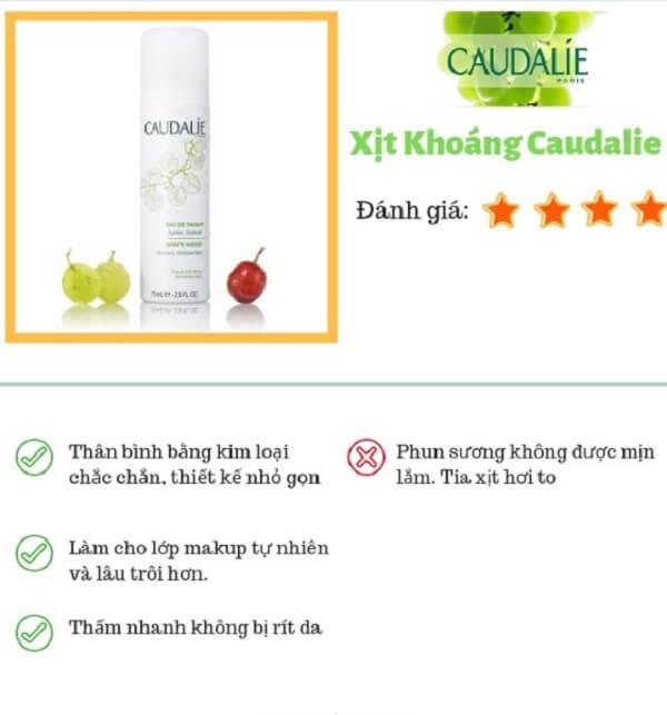 review xịt khoáng Caudalie