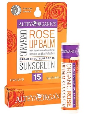 Son Dưỡng Môi Chống Nắng Hoa Hồng Hữu Cơ SPF 15 Organic Sunscreen Lip Balm Rose.