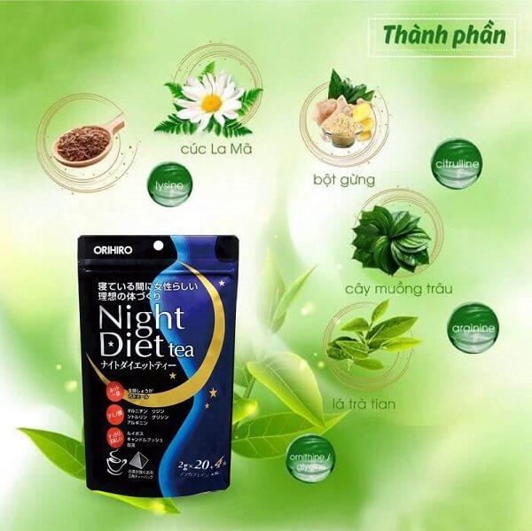 trà giảm cân orihiro night diet tea review